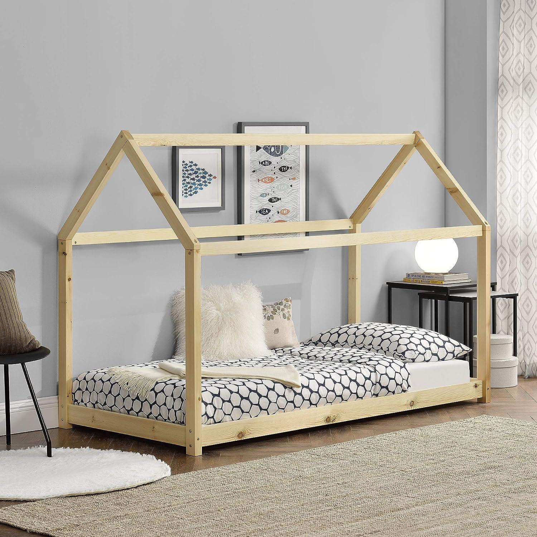 en.CASA Lit Enfant Design Maison Cadre Structure Lit Bois Blanc Cabane 206 x 98 x 142 cm Couleur Blanc