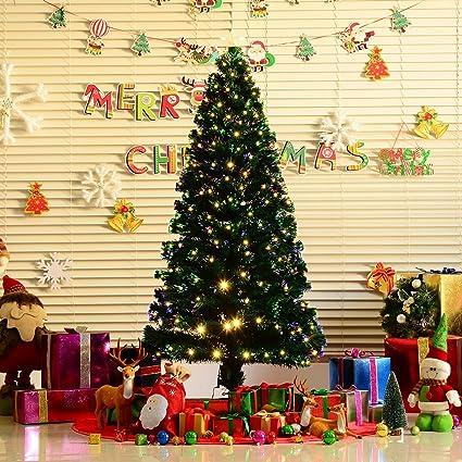homcom 6 artificial pre lit white led fiber optics christmas tree w - Amazon Pre Lit Christmas Trees