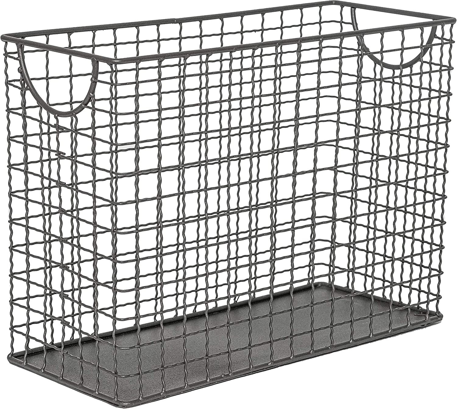 RGI Home Metal Bin Wired Storage Basket - Industrial Organizer Bin for Office and Workspace Made with Durable Steel Wire and Built in Handles (Gray)