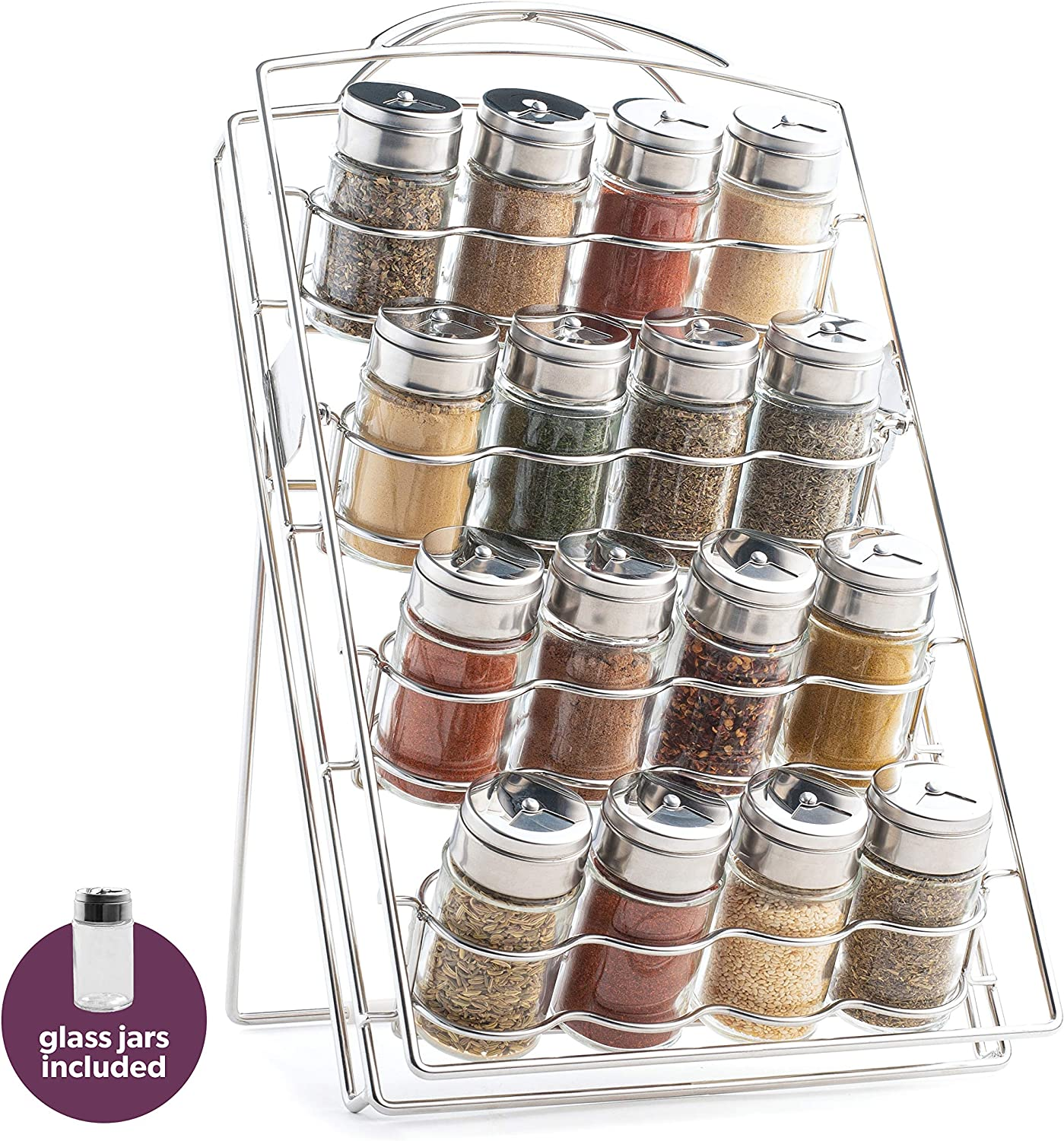 Inclined Spice Rack - 16 Jars Included - Seasoning Organizer & Storage Stand for Countertop or Cabinet   The Wire Collection, Chrome