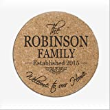 """Personalized Cork Trivet Welcome to Our Home Family Established Year and Name Absorbent 7"""" x 1/8"""" by Dayspring Milestones"""