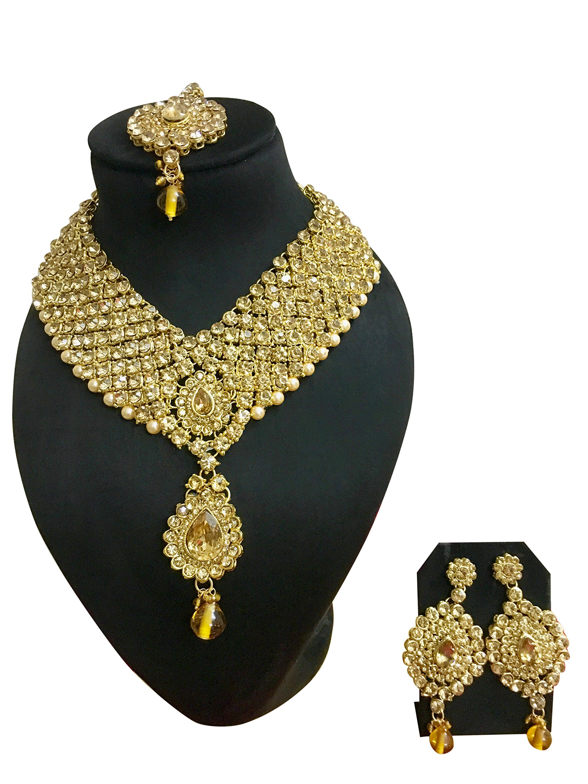CROWN JEWEL Indian Bollywood Style Diamante Pearl Gold Tone Bridal Fashion Jewelry Set For Women (Gold)