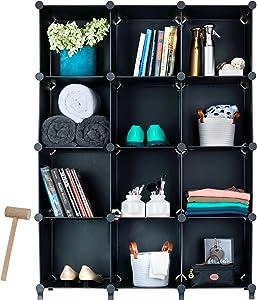 Homeries Cube Storage System (12 Cubes) – Modular DIY 12-Cube Plastic Closet Organizer Rack, Storage Shelves, Bookshelf, Bookcase for Bedroom, Office, Dorm Room, College, Living Room - Black