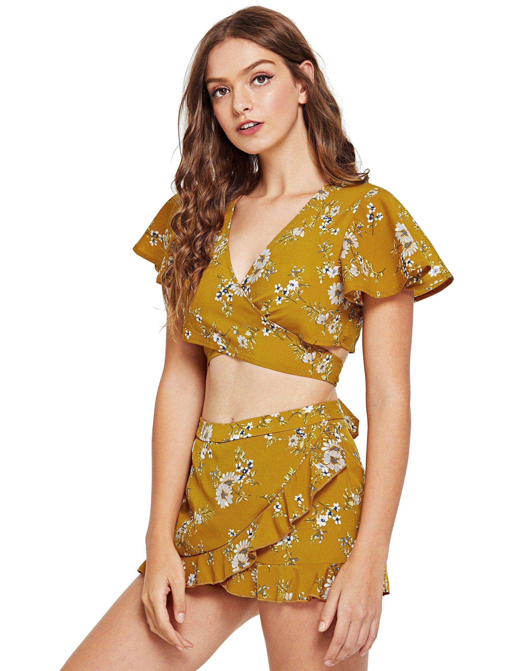 SweatyRocks Women's 2 Piece Boho Floral Print Short Sleeve Crop Top with Shorts Set Mustard L