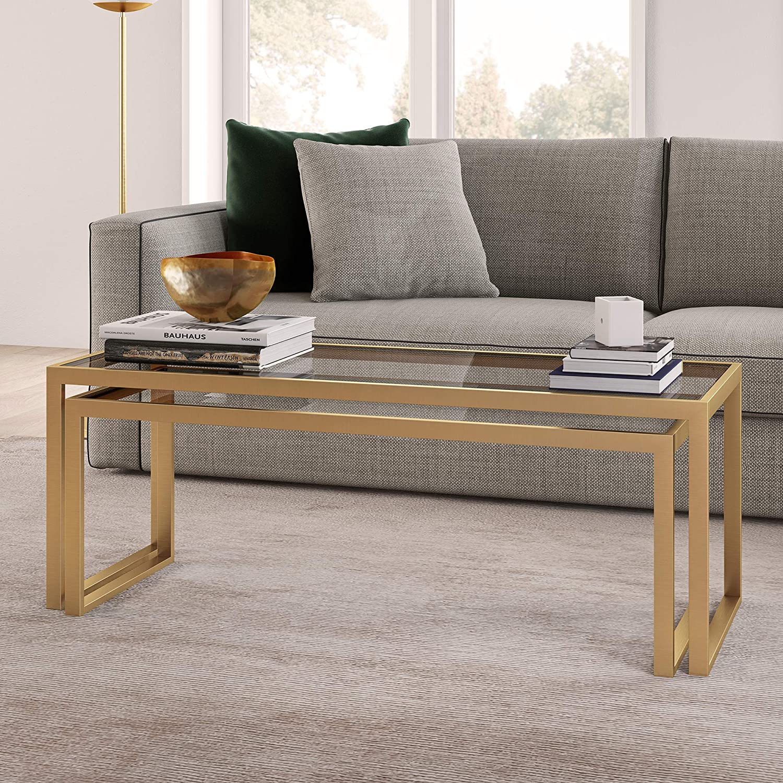 Gold//Brass Finish Henn/&Hart Modern Rectangle Nesting Coffee Table