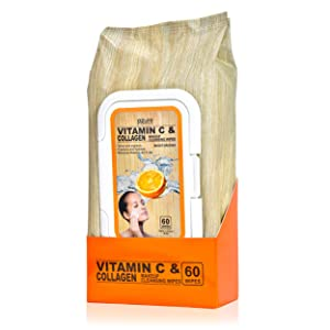 Vitamin C and Collagen Moisturizing facial Wipes By Azure– Removes Makeup, Dirt and Oils | Hydrates Skin | Tones and Brightens - 60 Wipes