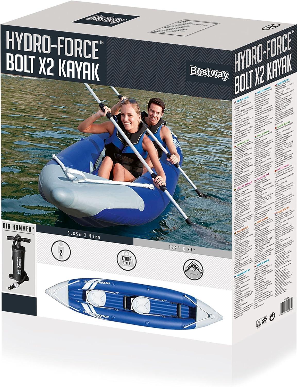 incluye 2 remos desmontables 385 x 93 cm Kayak Hinchable Hydro-Force Wave Line Bestway 65019