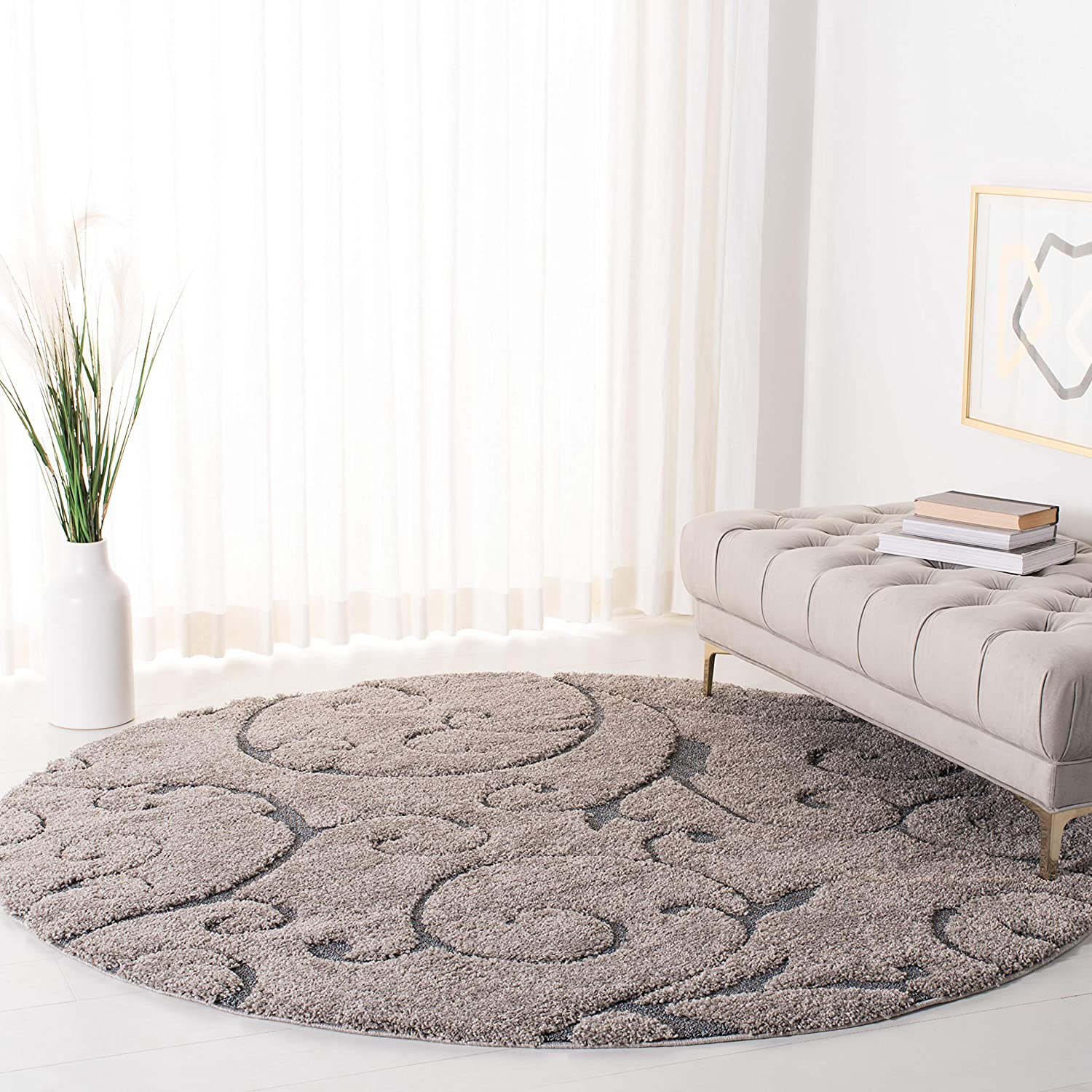 SAFAVIEH Florida Shag Collection SG455 Scrolling Vine Graceful Swirl Textured Non-Shedding Living Room Bedroom Dining Room Entryway Plush 1.2-inch Thick Area Rug, 5' x 5' Round, Grey / Light Blue