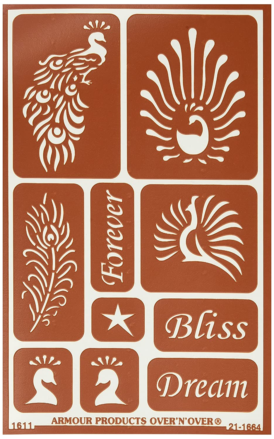 Armour Products 21-1664 Over 'N Over Reusable Stencils 5X8-Feathered Bliss