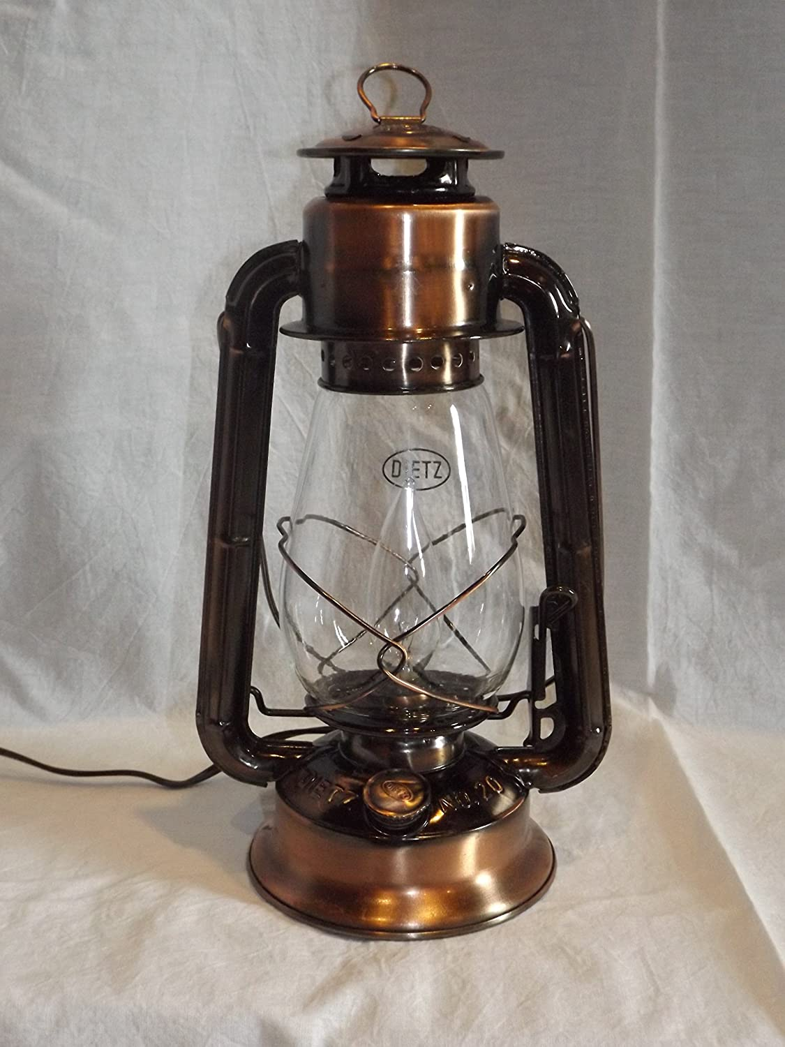 Dietz junior vintage style electric lantern table lamp copper dietz junior vintage style electric lantern table lamp copper bronze amazon geotapseo Image collections