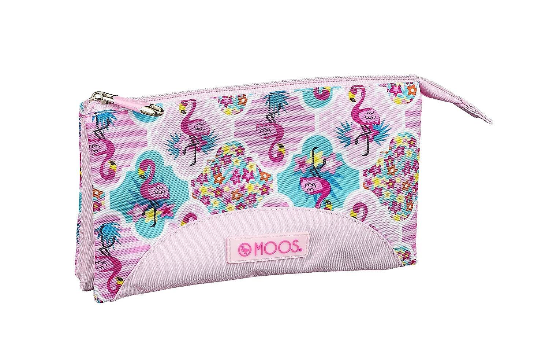 Moos Flamingo Pink Oficial Estuche Escolar 220x30x100mm