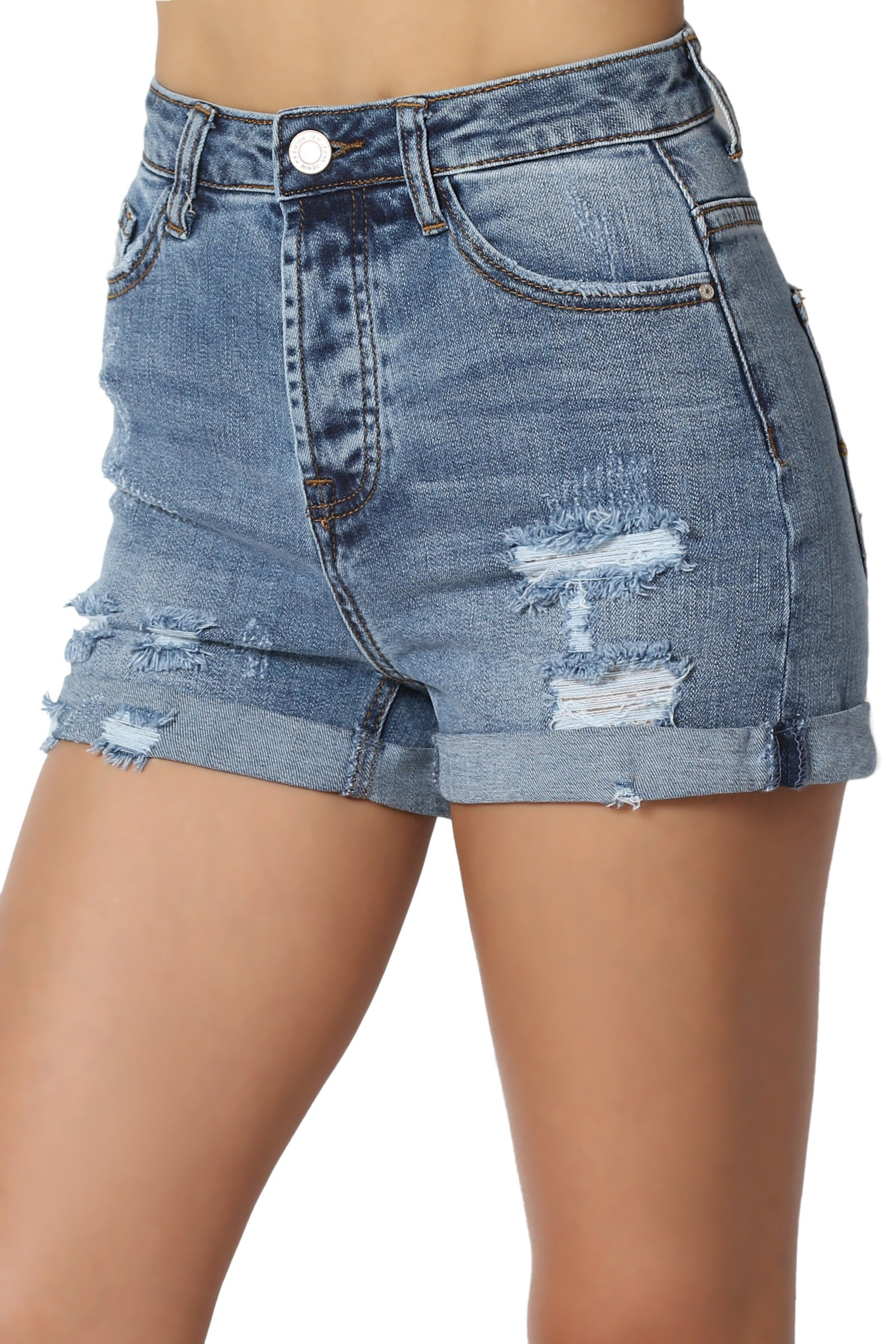 TheMogan Junior's Vintage Distressed High Waist Roll up Denim Shorts Medium S