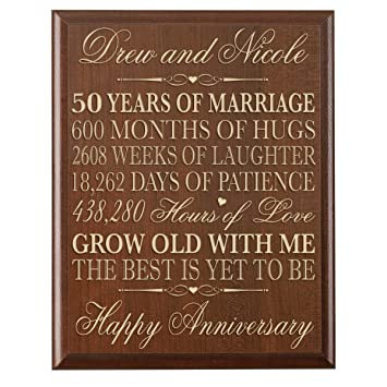 Personalized 50th Wedding Anniversary Wall Plaque Gifts For Couple Custom Made