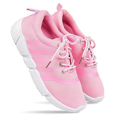 d81f002dc5 DRUNKEN Women's Sports Shoes, Shoes for Womens, Running, Yoga, Walking,  Badminton, Sneakers, Casual, Gym Wear, Tennis, Basketball Shoes, Pink Mesh  ...