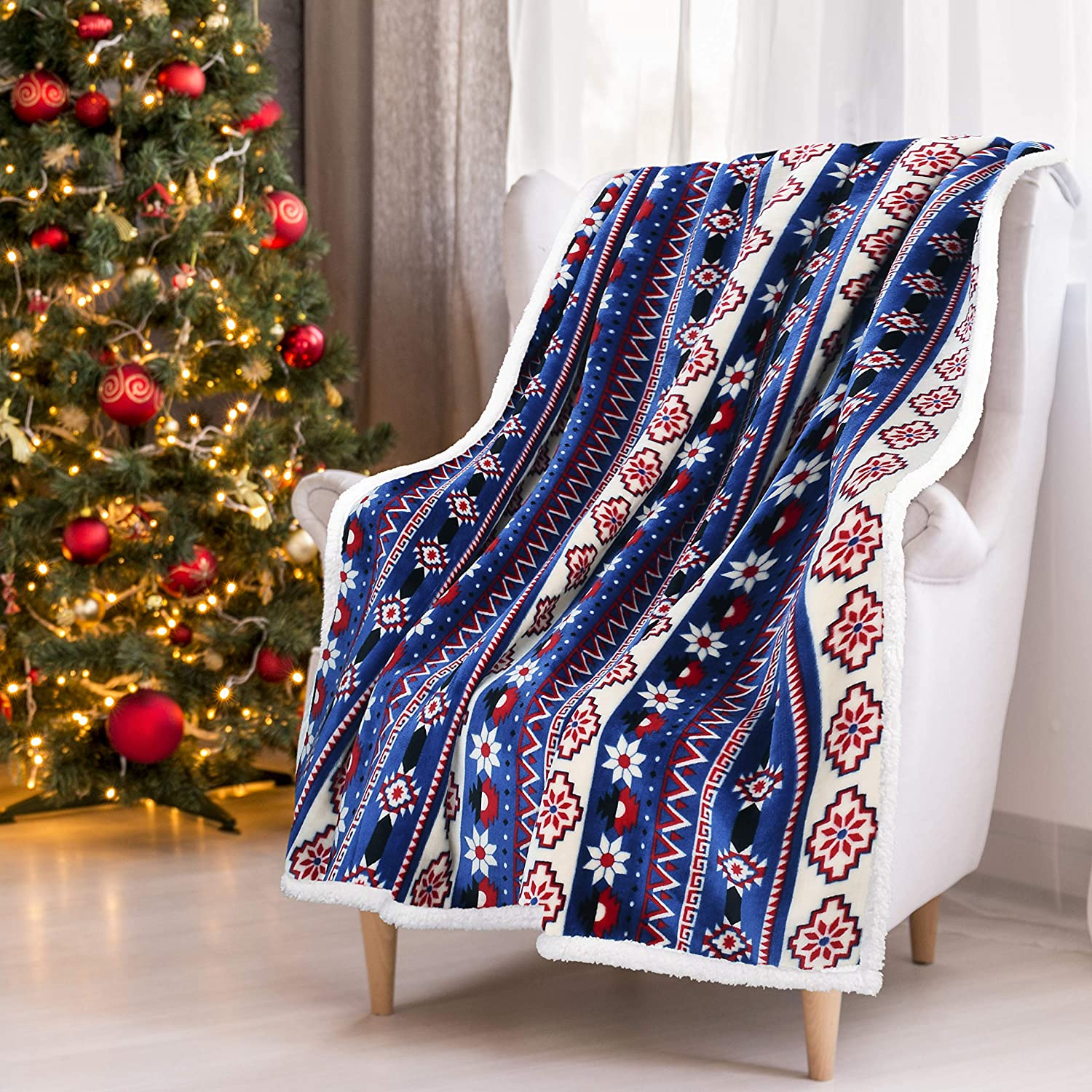 Blue Sherpa Throw Blanket, Super Soft Warm Cozy Reversible Fuzzy Fleece Snowflake Patterns Holiday Blanket 50