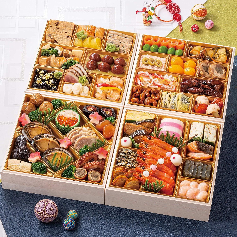 富山 千里山荘 おせち料理 2021 与段重 53品 盛り付け済み 冷蔵おせち 5人前~6人前 お届け日:12月31日