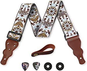 Guitar Strap Vintage Woven W/FREE BONUS- 2 Picks + Strap Locks + Strap Button. For Bass, Electric & Acoustic Guitars. an Awesome Gift for Men & Women Guitarists