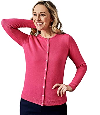afa4f211104243 Wool Overs Cardigan à col Rond - Femme - Cachemire Pink Rose, S ...
