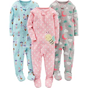 21dce3f30 Simple Joys by Carter's Baby and Toddler Girls' 3-Pack Snug Fit Footed  Cotton