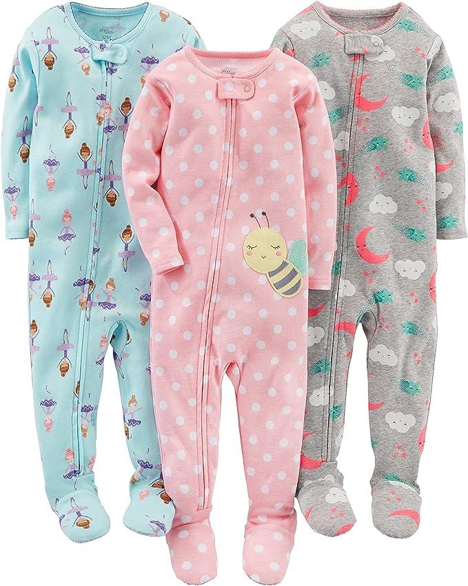 12 Meses Simple Joys by Carters pijama de algod/ón para beb/és y ni/ños peque/ños Dino//Animals Green//Lion 3 unidades
