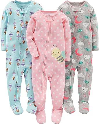 Simple Joys by Carters pijama de algodón para bebés y niñas pequeñas, 3 unidades: Amazon.es: Ropa y accesorios