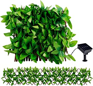 DR.DUDU Fence Privacy Screen, Artificial Hedges with Lights, Single Sided Leaves, Perfect for Balcony Decor, Indoor, Outdoor, Easter, Spring Warm White
