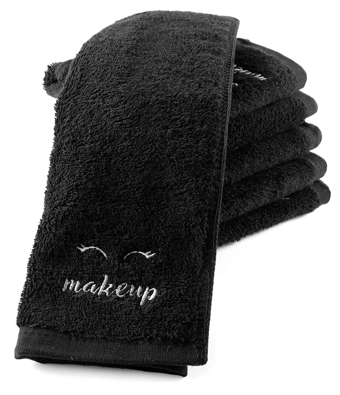 Toallas de Maquillaje Negras (6 Unidades), Toallas de Cara para Quitar Maquillaje + Bolsa de secador de Pelo (Juego de 7 Piezas): Amazon.es: Hogar