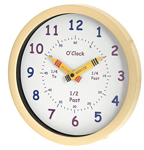 Unity - Reloj de pared para niños Henley Aprende las horas, 25 cm