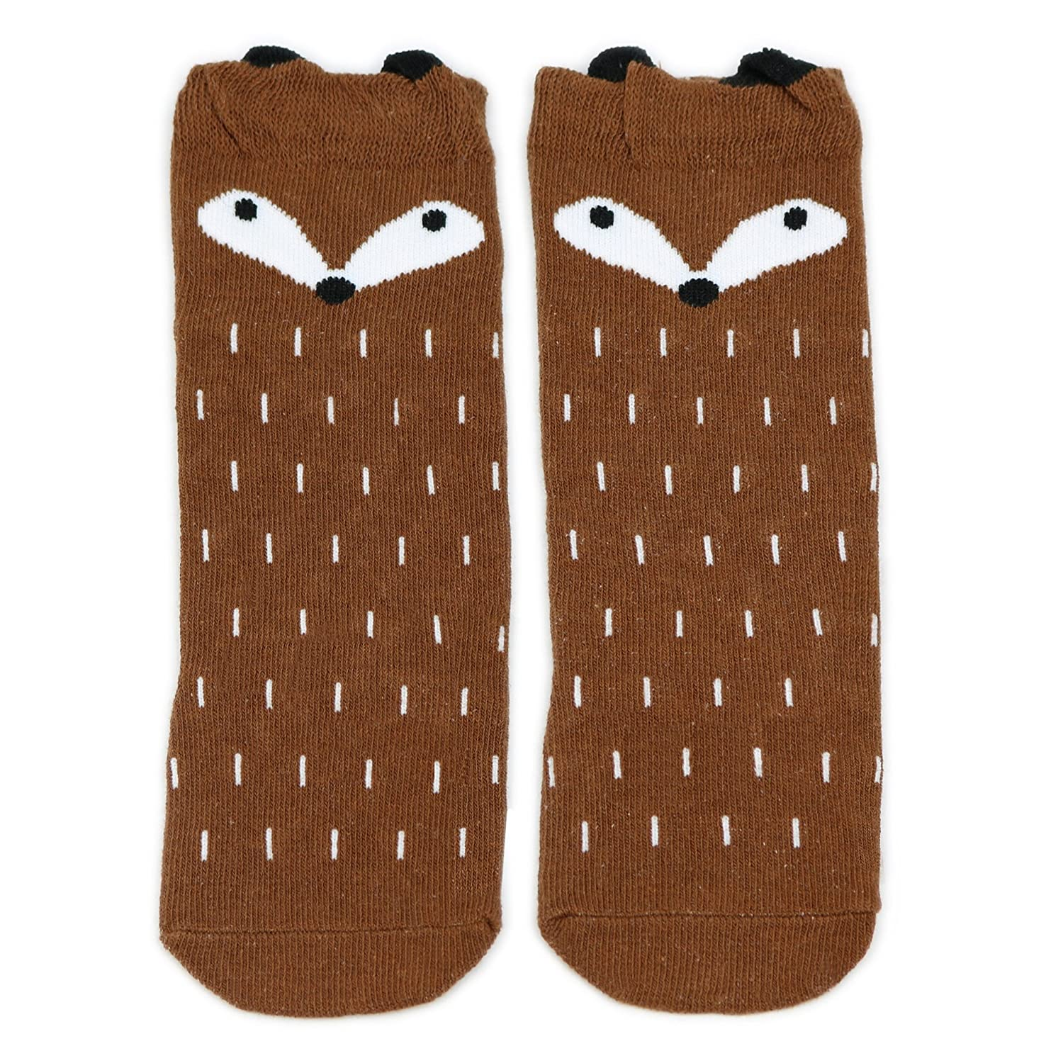 e8252ee3916 Dotty Fish - Knee High Cotton Socks for Baby Boys   Girls - Fox and Owl  designs in Small