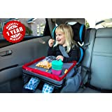 Kids E-Z Travel Lap Tray, provides organized access to drawing, snacks and activities for hours on-the-go. New and improved! Includes BONUS printable travel games (Red)