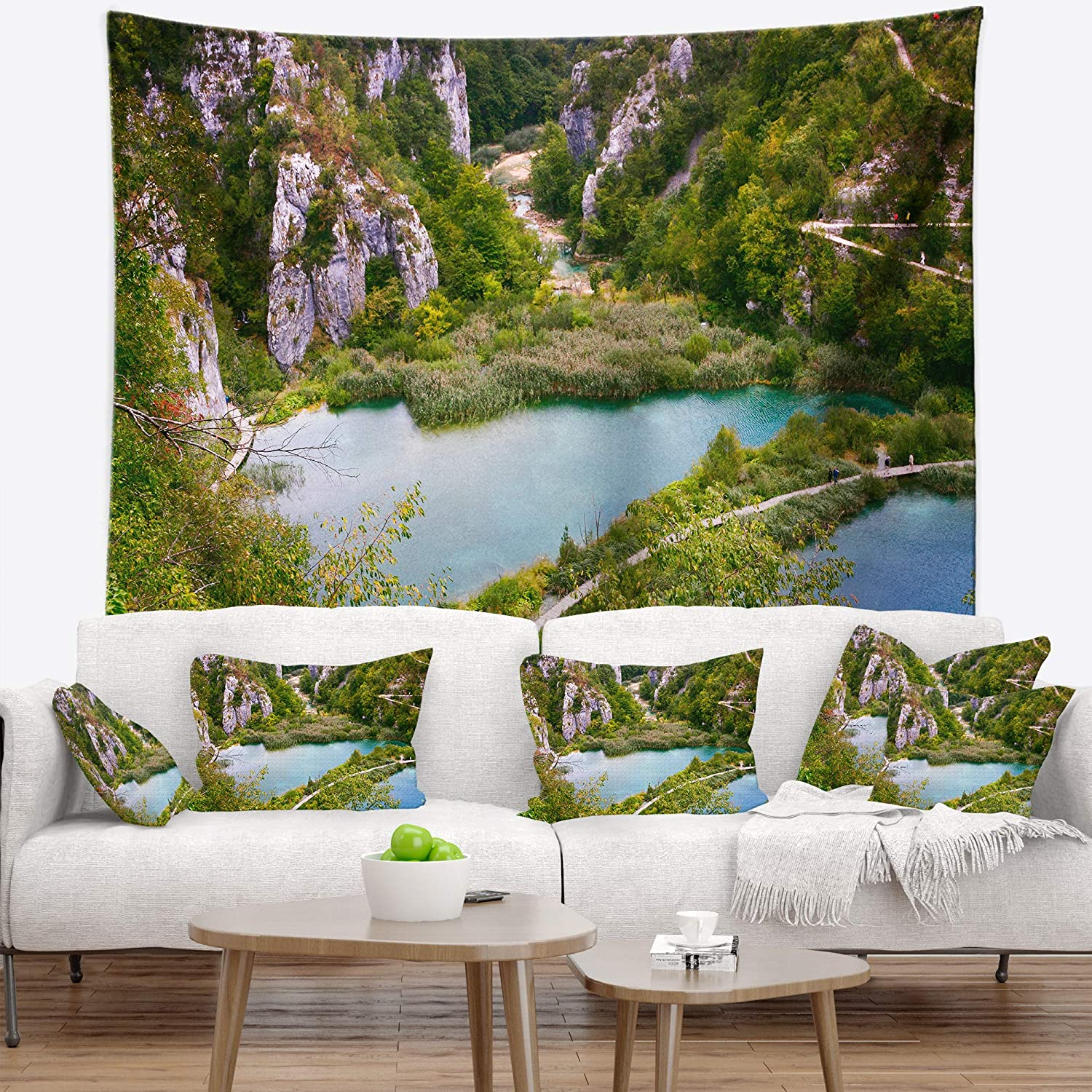 Created On Lightweight Polyester Fabric Designart Tap9069 39 32 Plitvice Lakes Long View Landscape Photo Blanket Décor Art For Home And Office Wall Tapestry Medium X 32 In 39 In