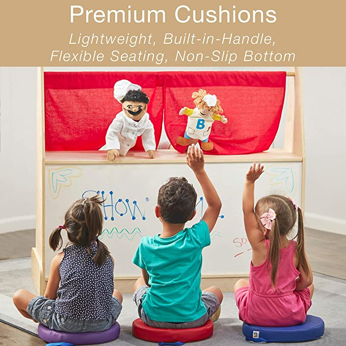2 Deluxe Foam ECR4Kids SoftZone Floor Cushions with Handles Assorted, Round 6-Pack
