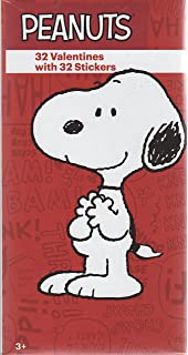 Peanuts Snoopy Valentine Cards For Kids With Stickers   Pkg. Of 32 (31822)