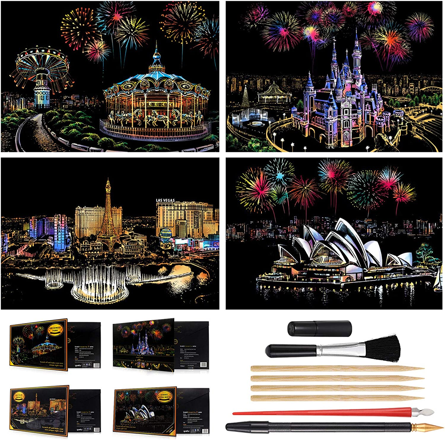 Sketch Night View Scratchboard for Teens /& Adults Magic Scratch Art Rainbow Painting Paper Amusement Park - Castle - Las Vegas - Sydney 16 x 11.2 Engraving /& Craft Set 4 Pack with 8 Tools
