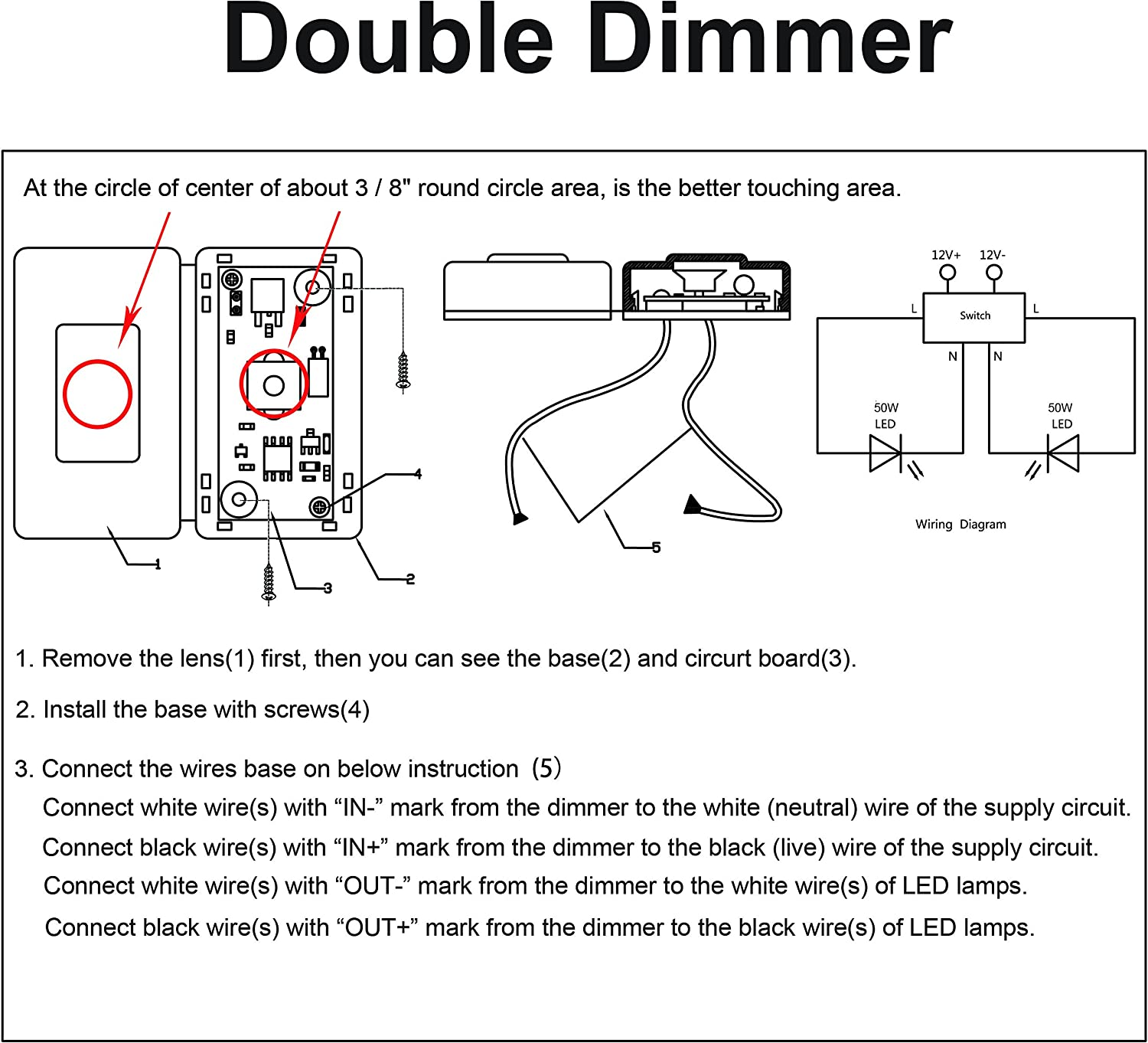 touch dimmer wiring diagram amazon com facon 12volt dc touch dimmer switch use with led  facon 12volt dc touch dimmer switch