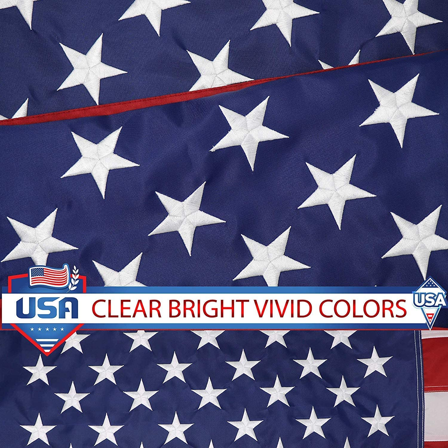 G128 American Flag 5x8 ft USA US Flag Embroidered Stars Sewn Stripes Brass Grommets Durable Indoor Outdoor Use : Garden & Outdoor