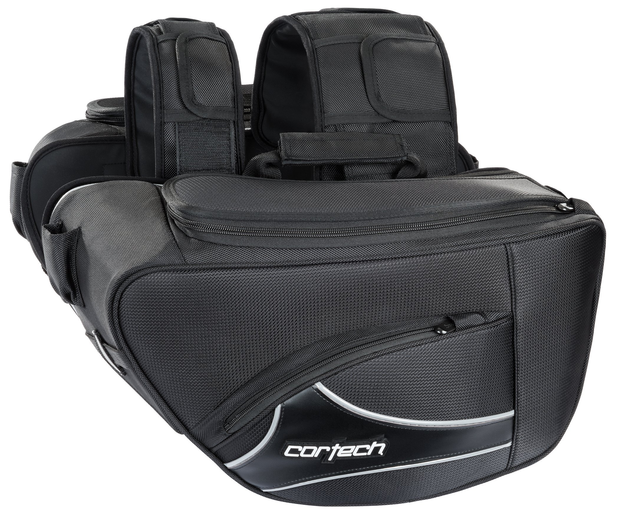 Cortech Super 2.0 Contoured Motorcycle Saddlebags Black 17''L x 5''W x 10''D