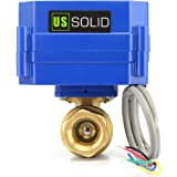 """Motorized Ball Valve- 1/2"""" Brass Electrical Ball Valve with Full Port, 9-24V DC 5 Wire Setup, can be used with Indicator Lights, [Indicate Open or Closed Position] by U.S. Solid"""