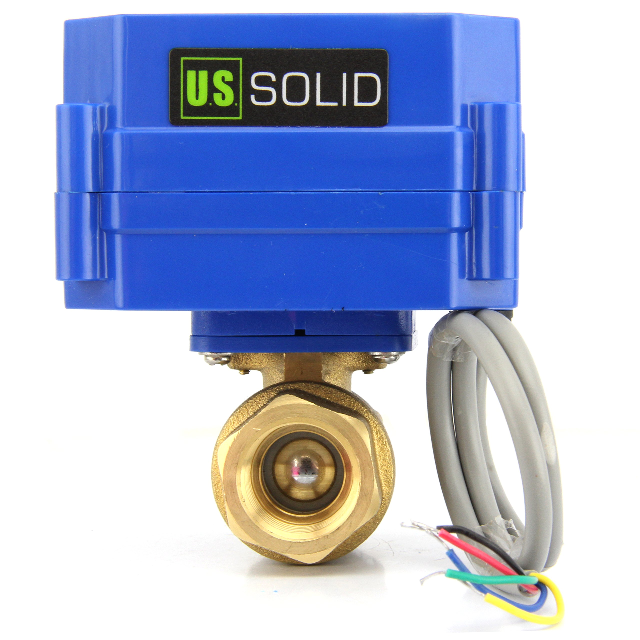 Motorized Ball Valve- 1/2'' Brass Electrical Ball Valve with Full Port, 9-24V DC 5 Wire Setup, can be used with Indicator Lights, [Indicate Open or Closed Position] by U.S. Solid