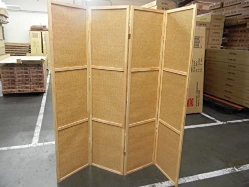 4 Panel Rattan Wooden Screen Room Divider- Natural