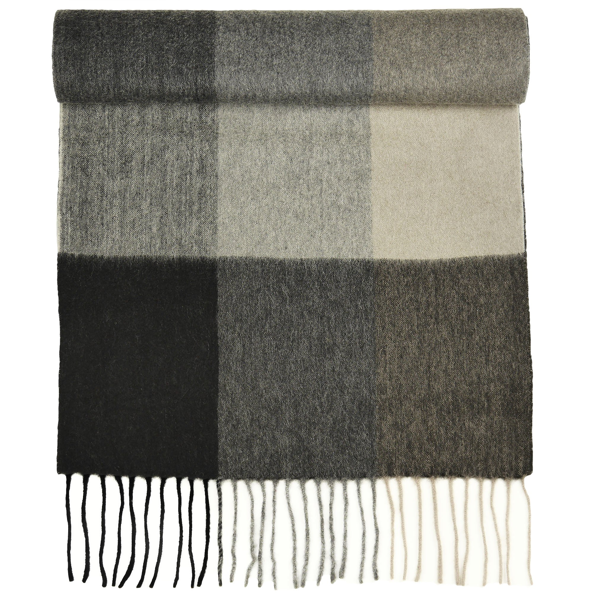 100% Pure Cashmere Scarf for Women, Solid Colors and Plaids, Unisex, Gift Box, Various Sizes, by Candor and Class (Grey Boxes)