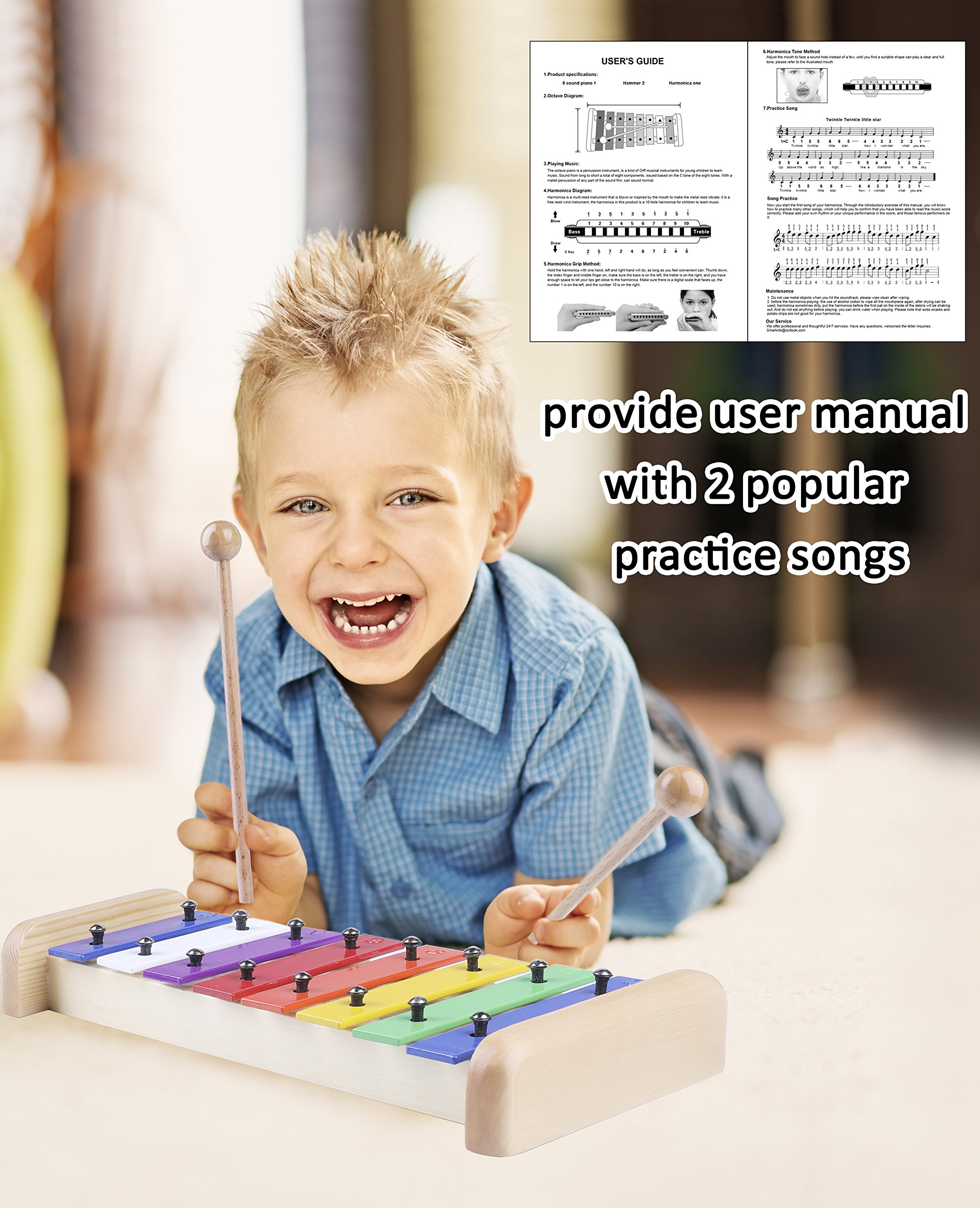 Smarkids Kids Xylophone Wooden Musical Toys Prime 8 Note Metal Keys Glockenspiel and Harmonica Instruments Set with Song Sheet for Toddler, Children, Boys and Girls with Xylophone Mallets by Smarkids (Image #4)