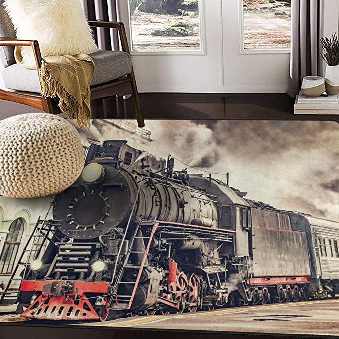 Alaza Retro Steam Train Area Rug Rugs For Living Room Bedroom 5 3 X4 Home Kitchen