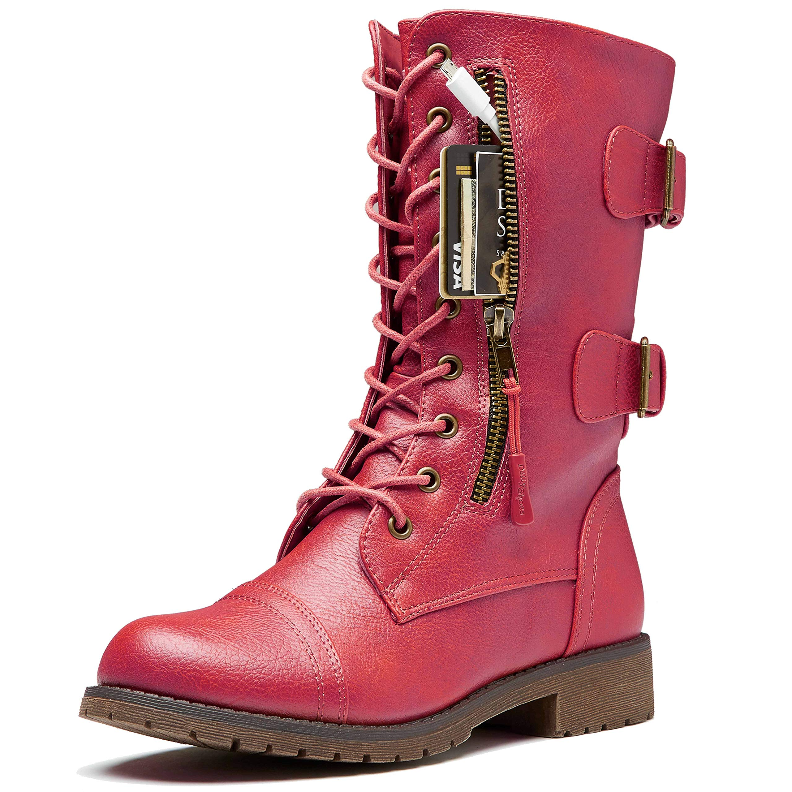 DailyShoes Women's Military Lace Up Buckle Combat Boots Mid Knee High Exclusive Credit Card Pocket, Elegant red, 9 B(M) by DailyShoes