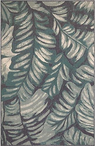 Liora Manne 7650 04 Palm Teal Rugs, 7 10 X9 10, Blue