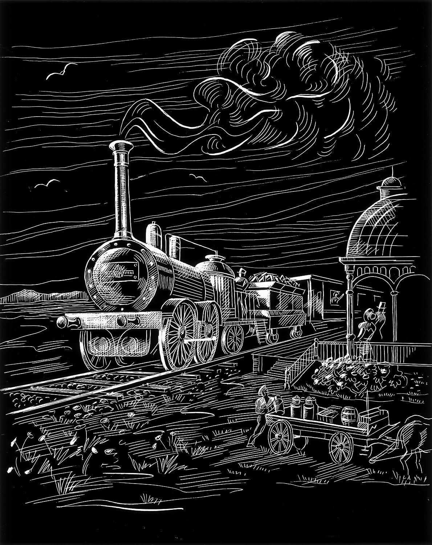 WASO-Hobby - 4er Scrapy Kratzbilder Set - Lokomotive, Doppeldecker, Dreimaster, Heißluftballon / Silber *Groß*