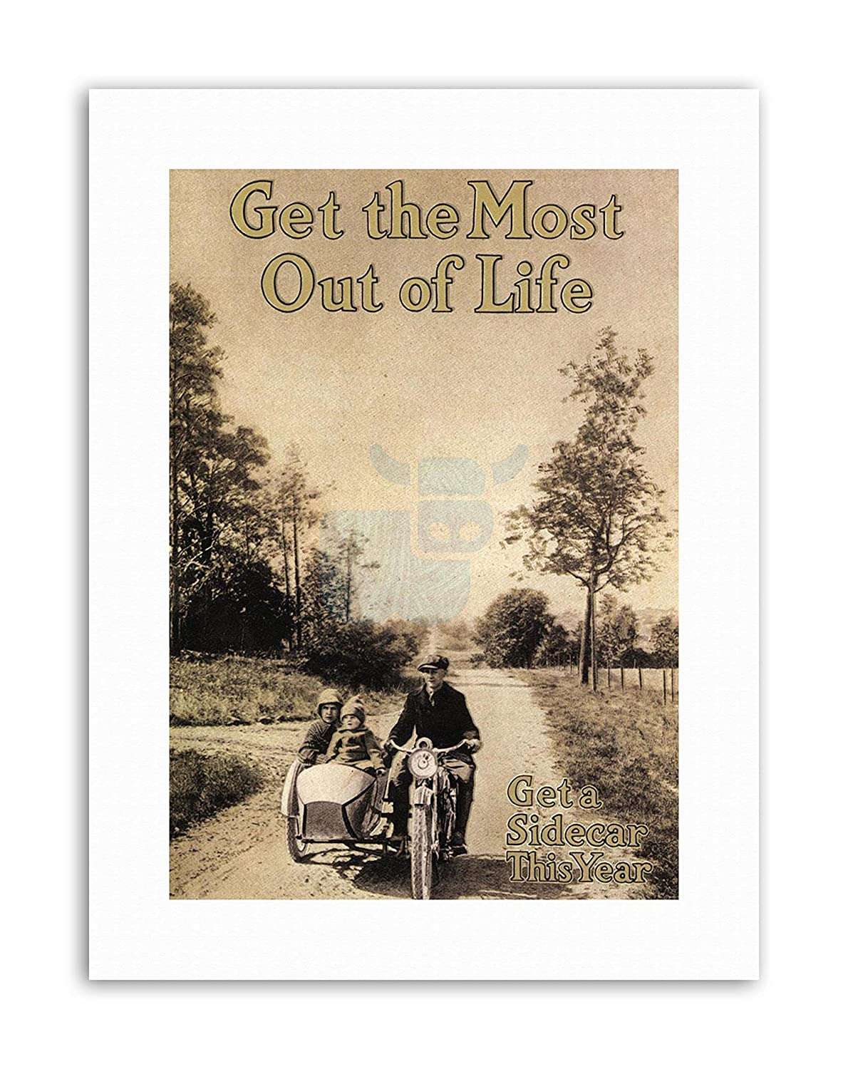 Amazon com: Wee Blue Coo 1916 Motorcycle Bike Sidecar Poster