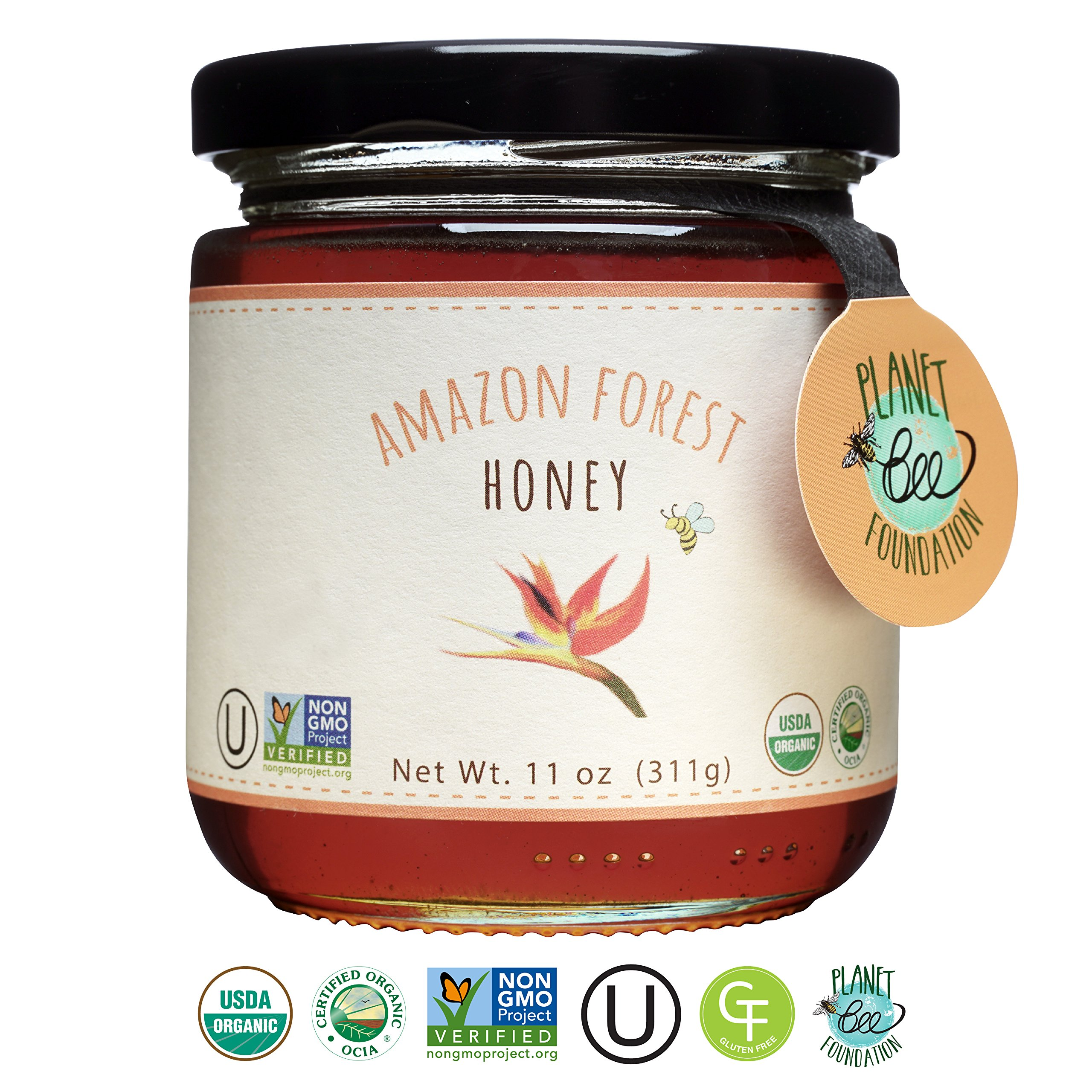 GREENBOW Organic Amazon Forest Honey - 100% USDA Certified Organic, Gluten Free, Certified Non-GMO, and Kosher Organic Amazon Forest Honey (11oz) - Taste the Nature