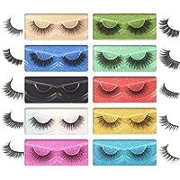 Pooplunch Natural False Eyelashes Faux Mink Lashes Pack 10 Styles Fake Eyelashes Wispy Cat Eye Lashes with Individual…