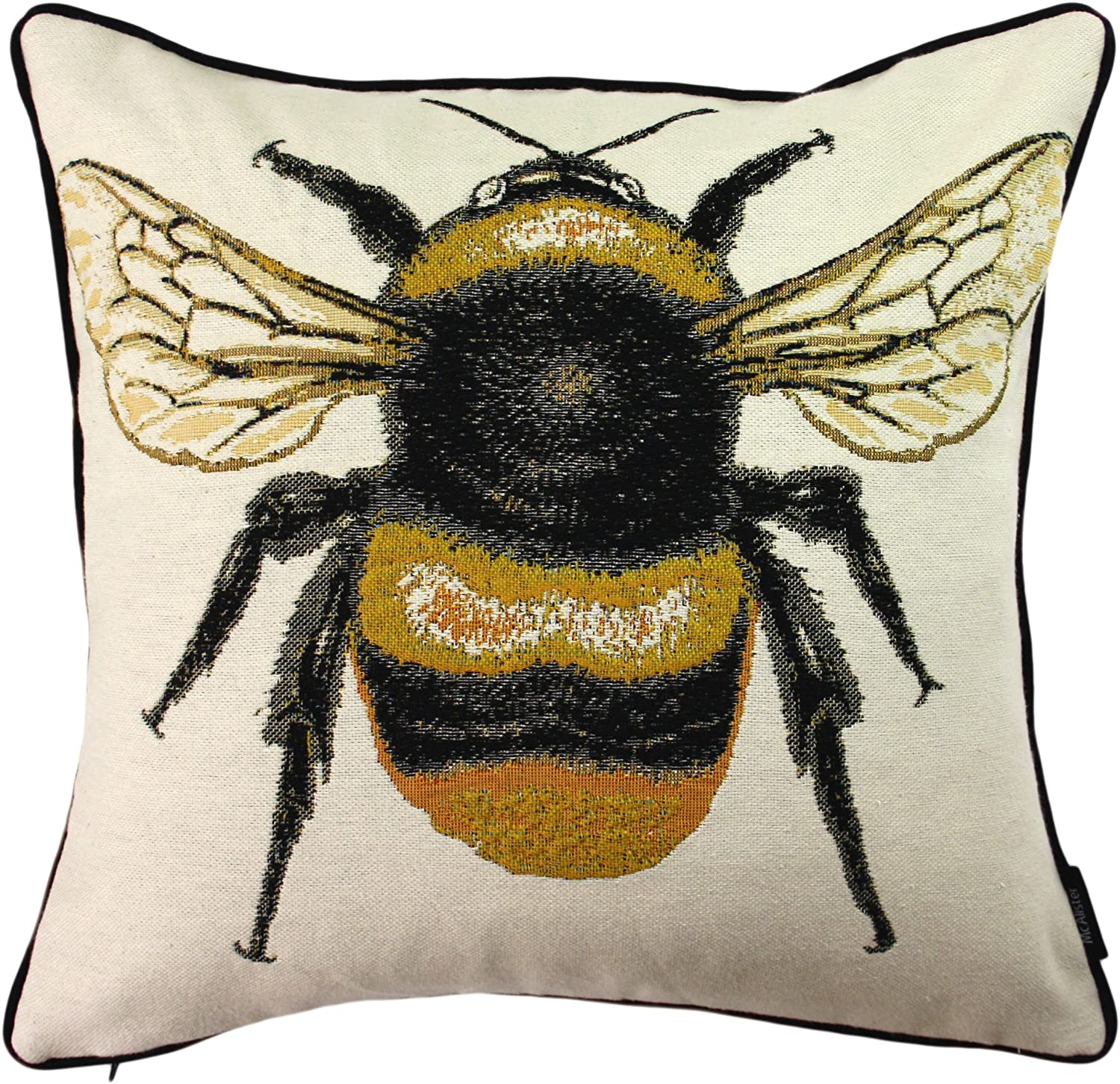 Mcalister Textiles Queen Bee Bug 43cm Cushion Cover Yellow Black Fun Tapestry Insect Heavyweight Embroidered Decorative Home Accessories Throw Pillow For Bedroom Sofa Living Room Accessory 17 Inches Amazon Co Uk Kitchen